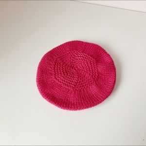 sweetest little hand knitted raspberry beret
